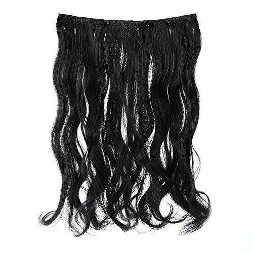 Prettyland - DQ138 Clip-in Extensions Extra volume 50 cm de long Ondulé en une seule pièce BK01 extension de cheveux BK01