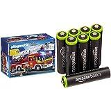 Playmobil Bomberos - Camión y escalera con luces y sonido, playset (5362) y 8 pilas...