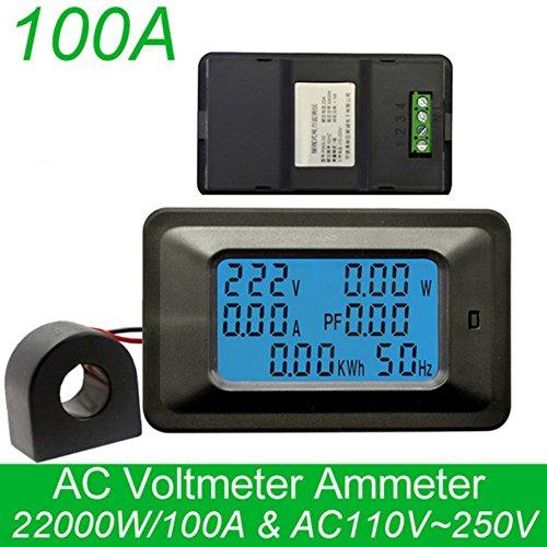KKmoon 100A Medidor de Voltaje Digital Medidor de Energía LCD 5KW Factor de Potencia...