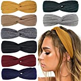 Huachi Headbands for Women Twist Knotted Boho Stretchy Hair Bands for Girls Criss Cross Turban Plain Headwrap Yoga Workout Vintage Hair Accessories, Solid Color, 8Pcs