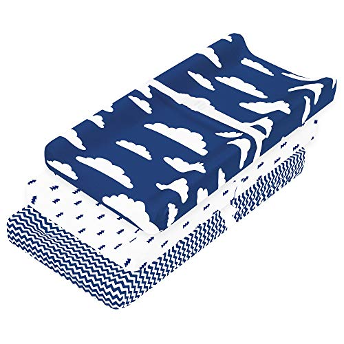 Changing Pad Cover – Baby Changing Pad Covers 3 Pack – Boy or Girl Changing Pad Cover – Pure Cotton Machine Washable Navy and White Changing Table Cover – Diaper Changing Pad Cover Sheets
