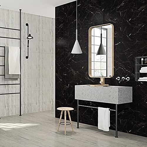 HyFanStr Azulejos autoadhesivos, suelos laminados de vinilo con efecto mármol grueso, pelar y pegar en negro tablones antideslizantes para cocina y baño