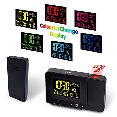 Projektions-Wecker-Wetterstation mit Wetter-Monitor, Personal Wetterstation mit Außensensor, Dual-Alarm-LCD-Display-Temperatur-Feuchtigkeits