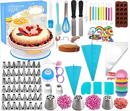 Cake Decorating Kits Supplies with Cake TurntableBaking Supplies SetNumbered Cake TipsMuffin Cup MoldCupcake Decorating KitPiping Bags And Tips Baking SetFrosting Pastry Tools 290PCS