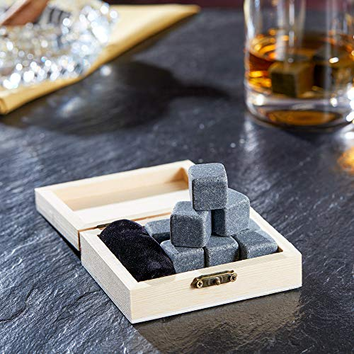 AMAVEL Whiskysteine in edler Holzbox – Standard – 9 geschmacksneutrale Kühlsteine für Whisky inkl. Aufbewahrungsbox – Wiederverwendbare Eiswürfel aus Granit – Originelle Geschenk-Idee für Männer - 2