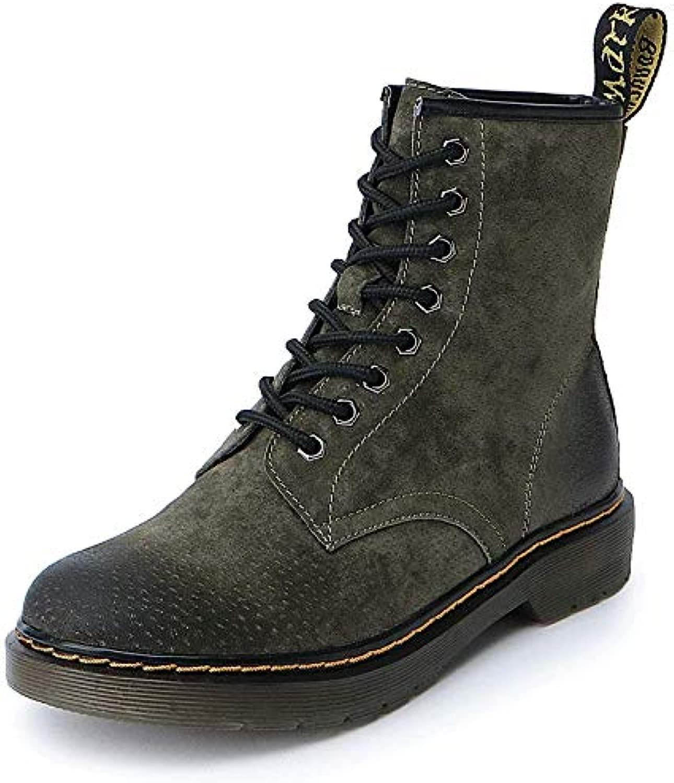 Top Shishang Martin Stiefel Stiefel Herbst und Winter Leder Damen Stiefel, grün und Samt, 38