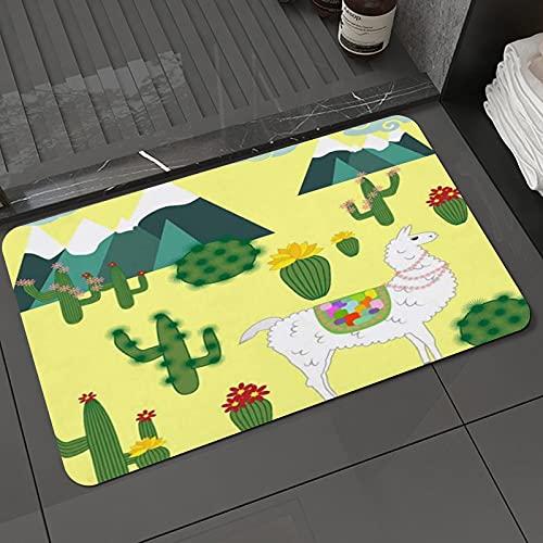 Badezimmerteppich rutschfest Nette Alpaka Lama Peru Tiere Farm Craft Dekoration South Cactus WildliModern Teppich für Wohnzimmer Schlafzimmer 50 X 80cm