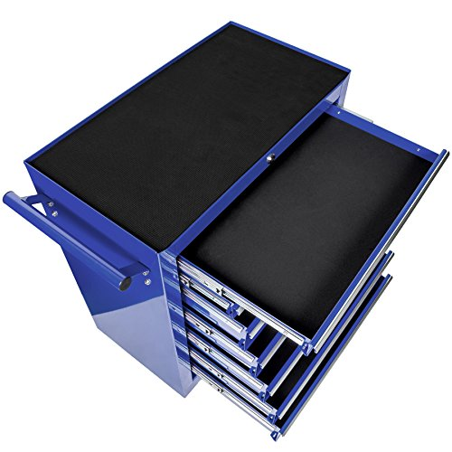 TecTake Werkzeugwagen Werkstattwagen | 7 verschließbare Schubfächer | Kugelgelagerte Gleitschienen | auf Rollen | -diverse Modelle- (Blau | Nr. 402801) - 3