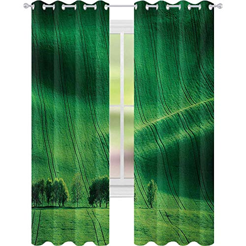 Window Treatments Curtains, Rolling Sunny Hills with Meadow Fields and Trees Southern Moravia, W52 x L72 Block Out Curtains for Living Room, Czech Republic Print