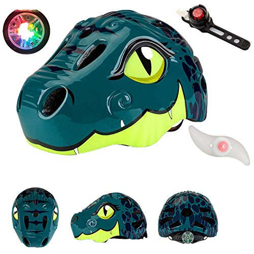 Kids Bike Helmet Toddler Helmet Rear Light,CE&CPSC Certified Kids Helmet, Ages 4-10 Years Boys Girls Adjustable Helmet, Impact Resistance Ventilation Skateboard Cycling Scooter Helmet (Dark green)