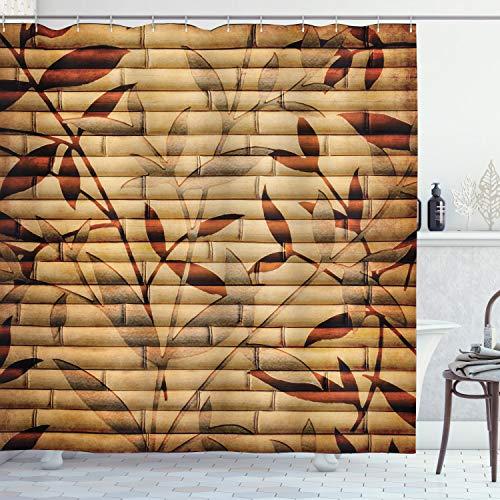 ABAKUHAUS Beige Douchegordijn, Bladeren van het bamboe Bohemian, stoffen badkamerdecoratieset met haakjes, 175 x 220 cm, Bruin Tan Beige