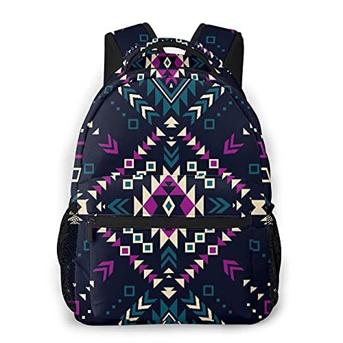 Mochila para adolescentes, hombres, mujeres, paquete de almacenamiento,Color oscuro Tribal Navajo Vector de pat, Mochila para portátil de viaje para estudiantes de escuela informal de negocios