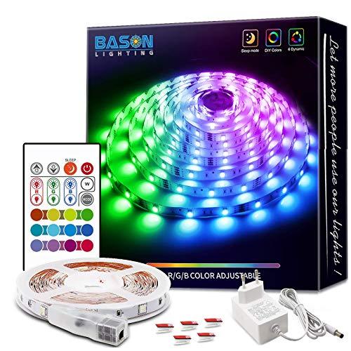 BASON LIGHTING LED Streifen 5m, Bason LED Band 5m RGB LED Strip mit Fernbedienung Farbwechsel LED Lichtband LED Stripes für Schlafzimmer Home Weihnachten Halloween Dekorationen