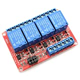 DZS Elec 5V 4 Channel Relay Optocoupler Isolation Module Red Board 3-5V High and 0-1.5V Low Level Triggered Load AC 0-250V / DC 0-30V 10A SCM IO Control