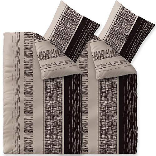 CelinaTex Touchme Biber Bettwäsche 135 x 200 cm 4teilig Baumwolle Bettbezug Greta beige grau schwarz