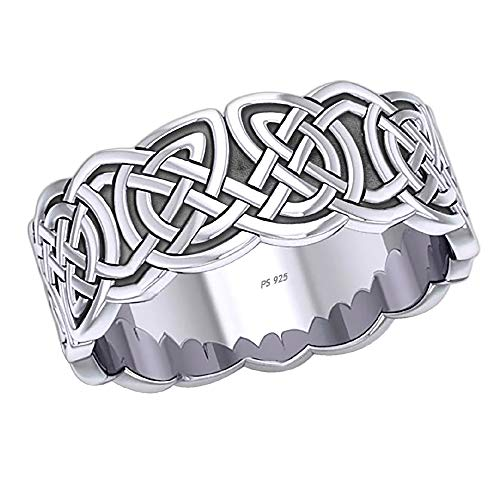 US Jewels Men's 0.925 Sterling Silver Irish Celtic Endless or Love Knot Ring Band, 10