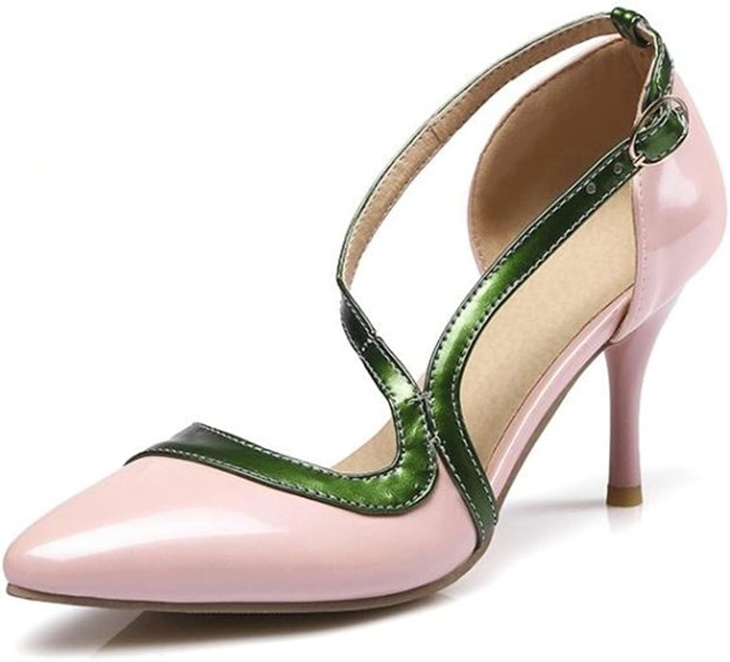SUNNY Store Women T-Strap Pointed Toe High Heel Evening Party Dance Wedding shoes