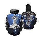 Sudadera con capucha para hombre y mujer, diseño de guerrero vikingo, mitología nórdica, con bolsillos grandes -  -  5X-Large