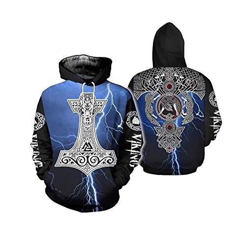 Viking Warrior Tattoo Sweatshirt Hoodie for Men Women, Vintage Norse Mythology Pullover with Big Pockets Shirt