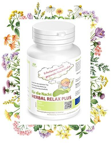 Nachtruhe Schlaf Beruhigungsmittel Mensch: Herbal Relax Plus, einzigartige Heilkräutermischung für eine erholsame und gesunde Nachtruhe. Hilft daher bei Angst, nervösen Beschwerden, Burnout und Schlaflosigkeit.