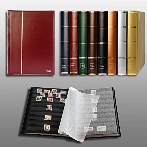 Prophila/Leuchtturm Classeur Album pour Timbres, 60 Pages, intérieur Noir (couv. Bordeaux)