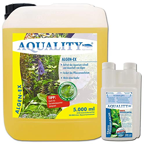 AQUALITY Aquarium Algen-EX (Erstklassiger Algenvernichter, Algenmittel, Algenentferner, Algenstopp - Befreit Fadenalgen, Bartalgen, Kieselalgen, Blau- + Schmieralgen), Inhalt:5 Liter