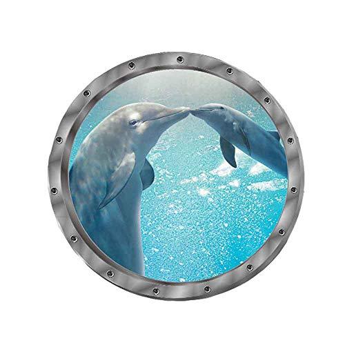Wandtattoo Wandaufkleber 3D Fenster Delphin Schildkröten Unterwasserwelt Delfine Marine Wohnzimmer Schlafzimmer Kinderzimmer Deko (Delphin)