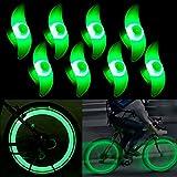 8 pcs Luz de Radios de Bicicleta, Paquete de 2 Neumáticos Luces de Radios de Bicicleta Delanteras y Traseras,LED Lámparas de Neón Usadas con 3 Modelos Intermitentes
