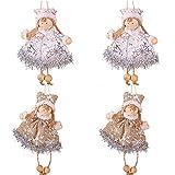 Mirrwin Tag Regalo Decorazione Natalizia Decorazioni per L'Albero di Natale di Angelo Ciondolo Bambola di Stoffa Adatto a Regali per Bambini Adulti Decorazione Natalizia Giocattolo 4 Pezzi