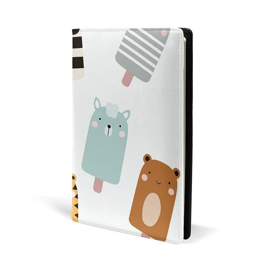 一時停止微視的叱るブックカバー a5 アイスクリーム パンダ 熊 文庫 PUレザー ファイル オフィス用品 読書 文庫判 資料 日記 収納入れ 高級感 耐久性 雑貨 プレゼント 機能性 耐久性 軽量