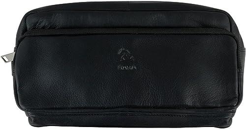 Multipurpose Black Edward Portable Toiletry Kit Genuine Leather Pouch for Travelling Shaving Kit Organizer for Men