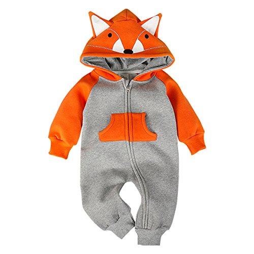 Bebone Baby Junge Mädchen Strampler Baumwolle Babykleidung (9 Monate/90, Orange)