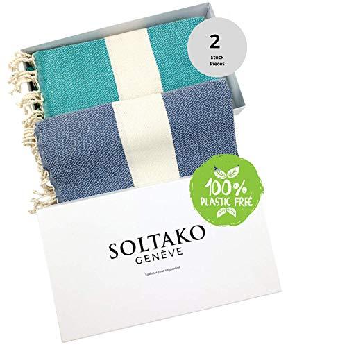 SOLTAKO XXL 2X Fouta Strandtuch Handtuch Saunatuch Badetuch Hamamtuch Yoga Decke Pestemal in Silberweiß & Jade Farben als 2er Geschenkset extra groß, 100 x 200 cm