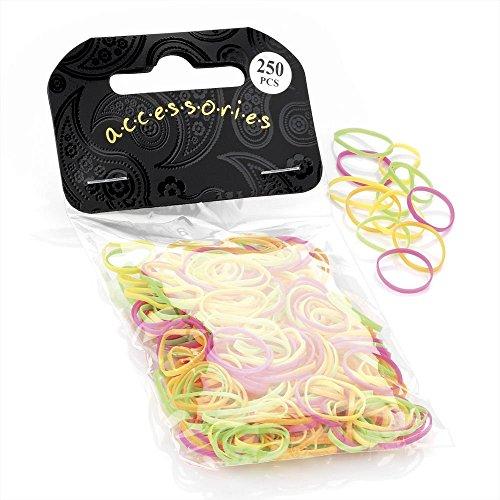 250 Small Mini Elastics Rubber Hair Bands Braiding Plaits Dreads in Multi Neon