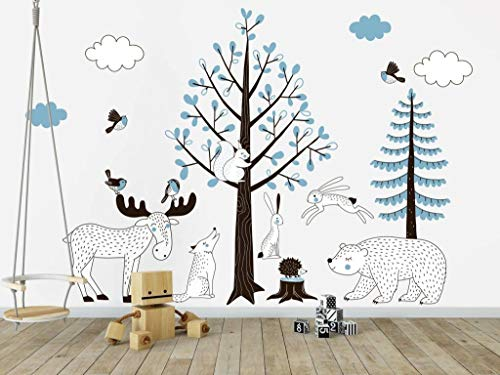 Muursticker Bomen set Forest blue Sticker spiegelen?: Nee, zoals op eerste afbeelding te zien