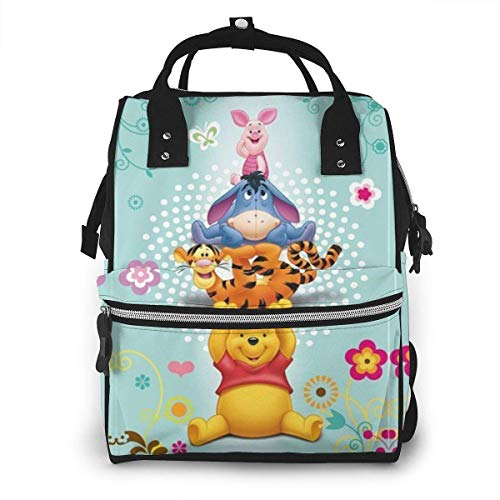 NHJYU Wickeltasche Rucksack - Winnie The Pooh Bear Multifunction Waterproof Travel Rucksack Maternity Baby Nappy Changing Bags