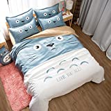 Cartoon Children Kid Bedding Set Duvet Cover Cute Totoro Bed Linens with Two Pillowcases 3 Pieces Bedclothes (#22,Full / 203228cm)