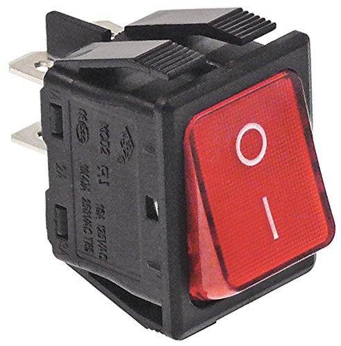 Interrupteur à bascule lumineux à encastrer Dimensions : 30 x 22 mm 2 NO 2 broches prise 250 V Faston 6,3 mm FOLGE 0 commutation I Rouge 16 A compatible avec Electrolux, alpeninox, eloma