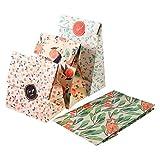 Bolso de la galleta de la invitación del regalo del bolso de Kraft del patrón de la flor 12PCS con las etiquetas engomadas para casarse la fiesta de cumpleaños Nuevo