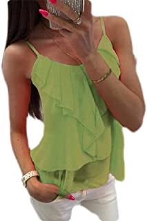 Loyomobak Women Ruffle Spaghetti Strap Sleeveless T-Shirt Blouse Tank Tops