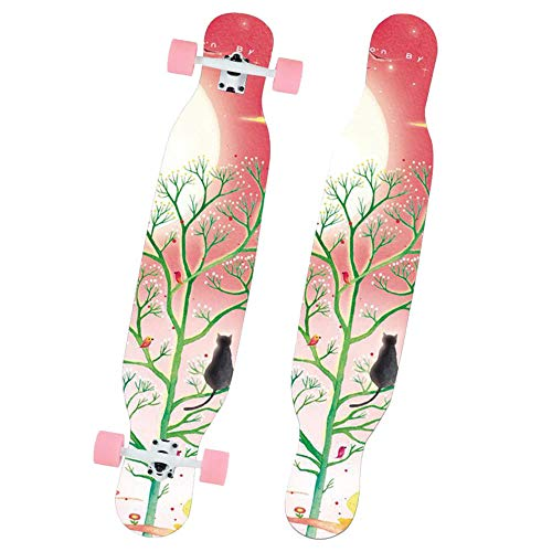 Skateboard Complete Maple für Erwachsene und Anfänger 46 Zoll Longboard zum Carven Downhill Cruisen Freestyle Riding Durable Drop Through Dancing Deck- # 1