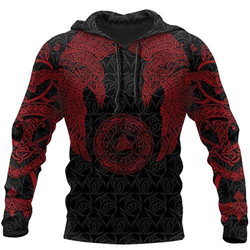 JJDSL Viking Munin Tattoo Style Hoodie Harajuku Fashion Hooded Sweatshirt Automne Unisex Hoodie Tops Pour Hommes Et Femmes, Hoodies,XXX,Large