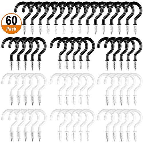 Cup Haken 60 Stücke Hakenschrauben Beschichtet Haken Schraubenhaken Decken Cup Haken Wäscheleinenhaken für Tassen Lampen Becher Pflanzen Werkzeuge (Schwarz und Weiß)