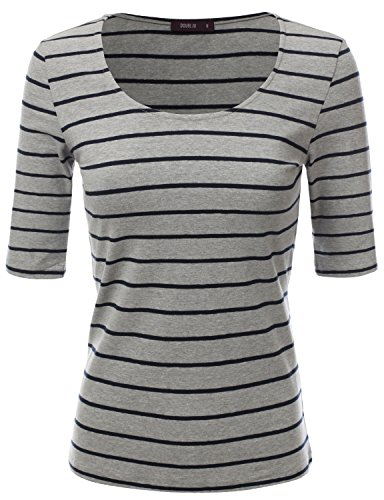 Doublju Sold & Striped Round Neck T-Shirt Top for Women with Plus Size GREYNAVY Small