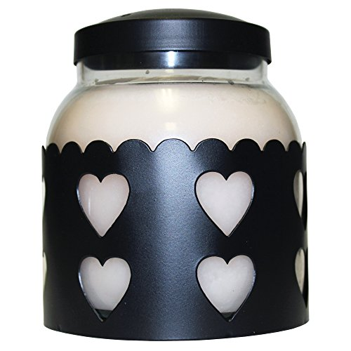 A Cheerful Giver Metal Candle Sleeve - 5' Black Heart Candle Sleeve Fits Keepers of the Light Papa or Mama Jar Candles - Rustic Candle Accessories