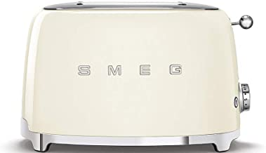 Smeg TSF01CRUK, 50's Retro Style 2 Slice Toaster,6 Browning Levels,2 Extra Wide Bread Slots, Defrost and Reheat Functions,...