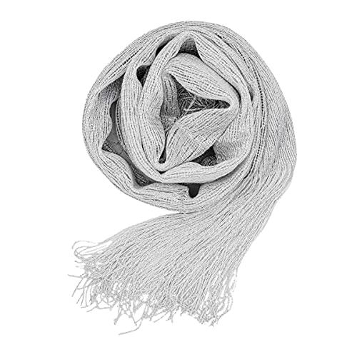Colours & Beauty Coprispalle Cerimonia Donna Elegante Rete Bianco Lamè Argento | Stola Donna Cerimonia | Foulard Donna | Coprispalle Donna Estivo | Stola Donna Elegante cerimonia