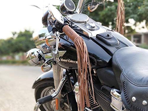 Trip Machine Company Leather Motorcycle Tassels Frills Vintage Tan for Harley Davidson, Indian Motorcycles