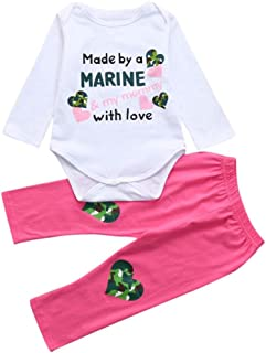 Winsummer Kid Baby Girl Infant Love Print Romper Jumpsuit Bodysuit +Heart Pants Clothes Valentine's Day Outfit 0-18M