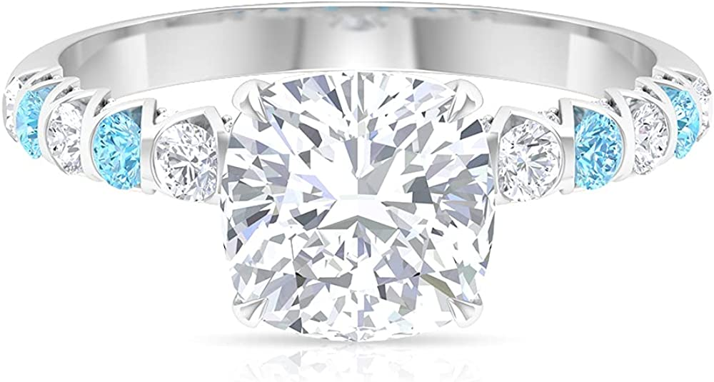2.50 CT Claw Set Solitaire Moissanite and Aquamarine Ring (D-VSSI Quality),14K White Gold,Moissanite,Size:US 7.50